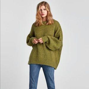 Oversized kaki sweater ZARA